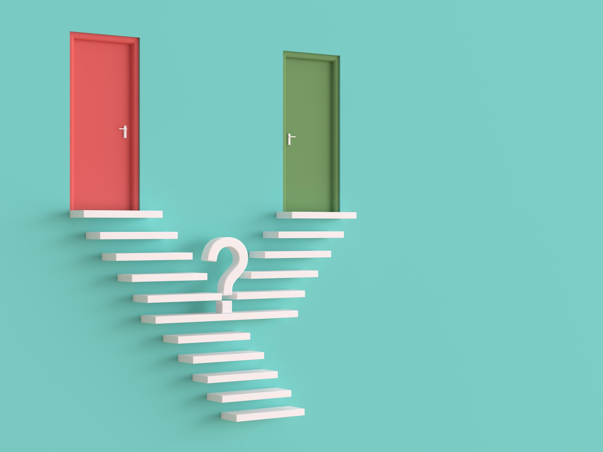Choosing a path, two doors, two roads