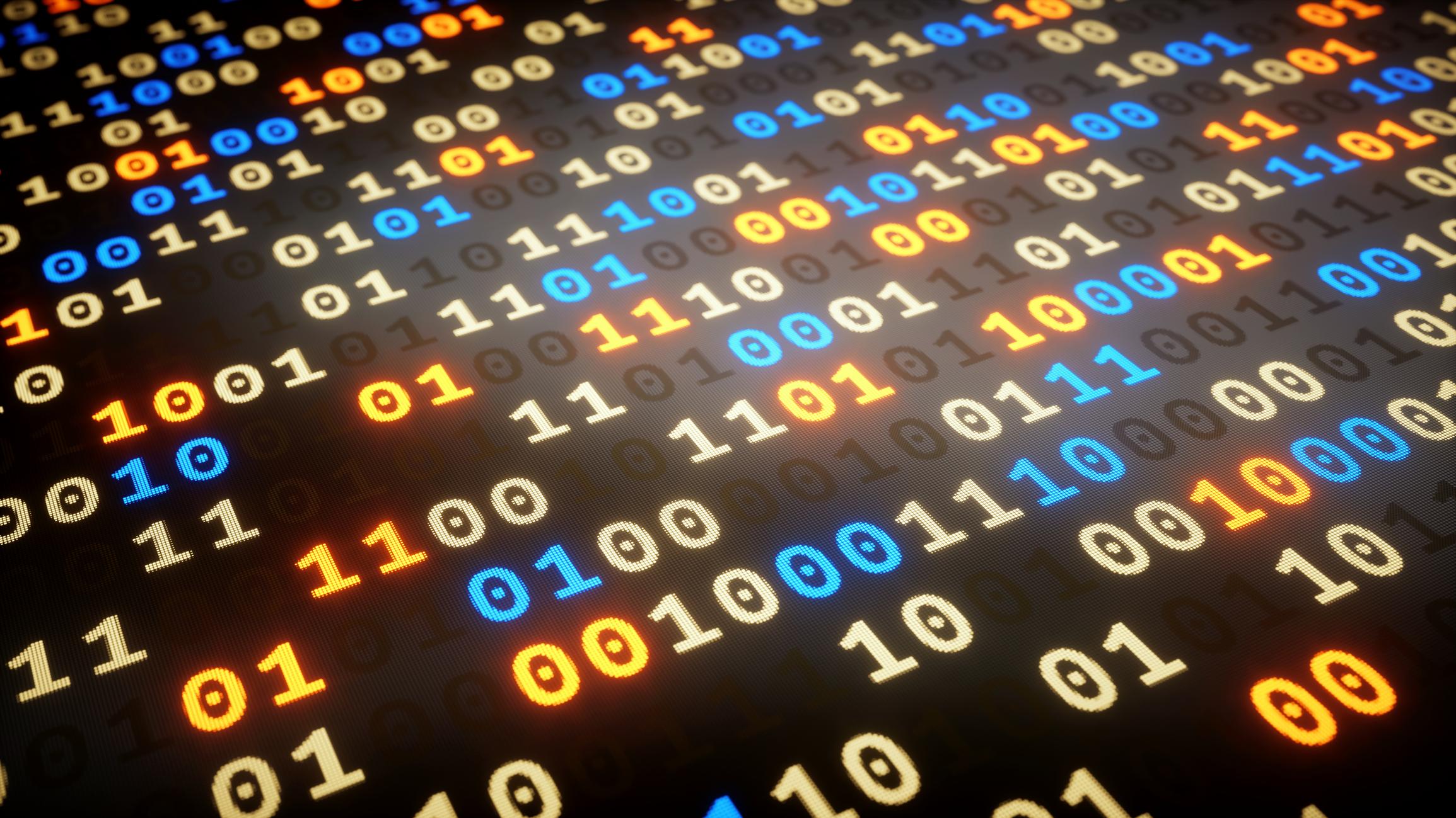 A close-up on a data set of random binary numbers