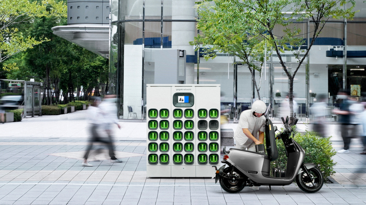 One of Gogoro's battery swapping station