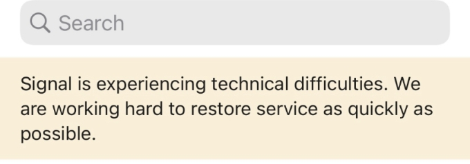 Signal's in-app error message