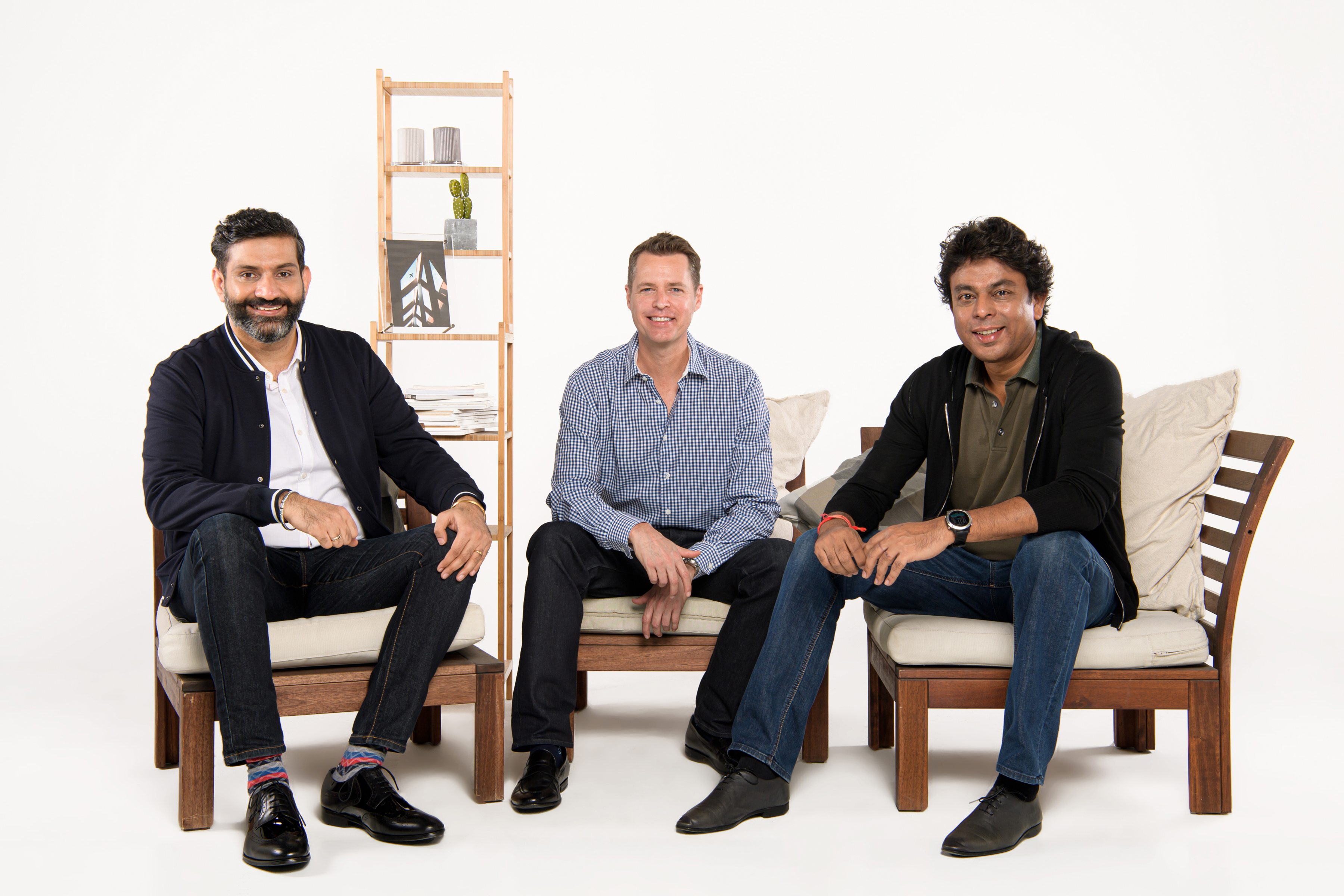 A group photo of Jungle Ventures' team:(From left to right) Jungle Ventures' founding partner Amit Anand, managing partner David Gowdey and founding partner Anurag Srivastava