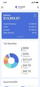 Simplifi by Quicken mobile dashboard