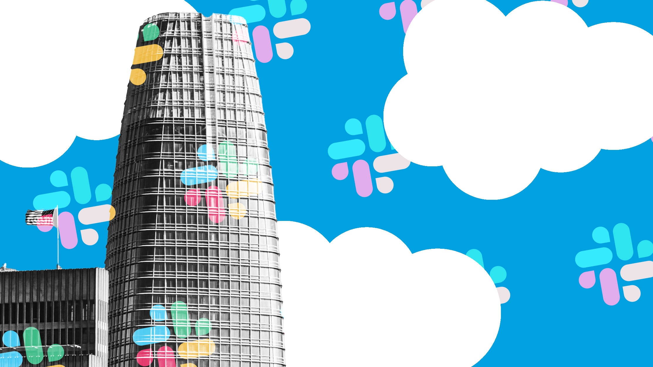 photo illustration of salesforce tower with white clouds and slack logo pattern