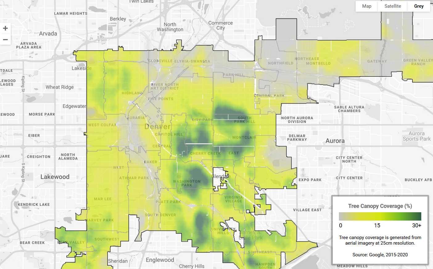 Map of Denver with an overlay showing areas with high and low tree cover.