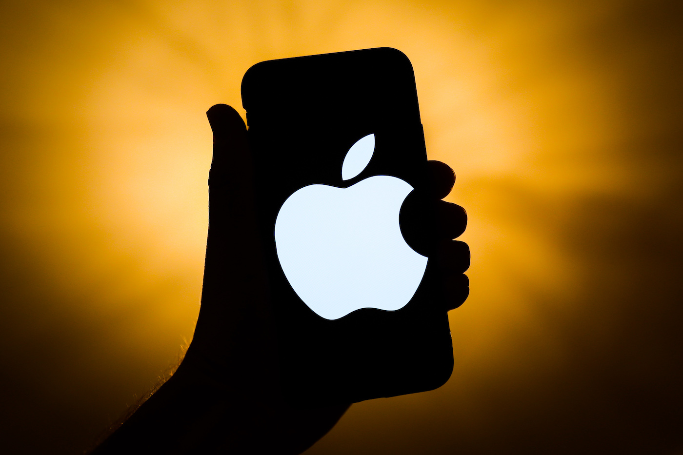 Apple logo is seen displayed on a phone screen in this illustration photo taken in Krakow, Poland on September 21, 2021. (Photo Illustration by Jakub Porzycki/NurPhoto via Getty Images)