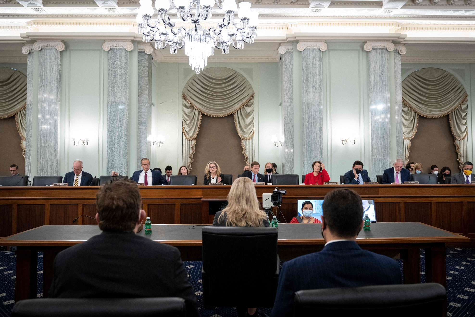 Committee Senators listen as former Facebook employee and whistleblower Frances Haugen (C) testifies before a Senate Committee on Commerce, Science, and Transportation hearing on Capitol Hill, October 5, 2021, in Washington, DC.