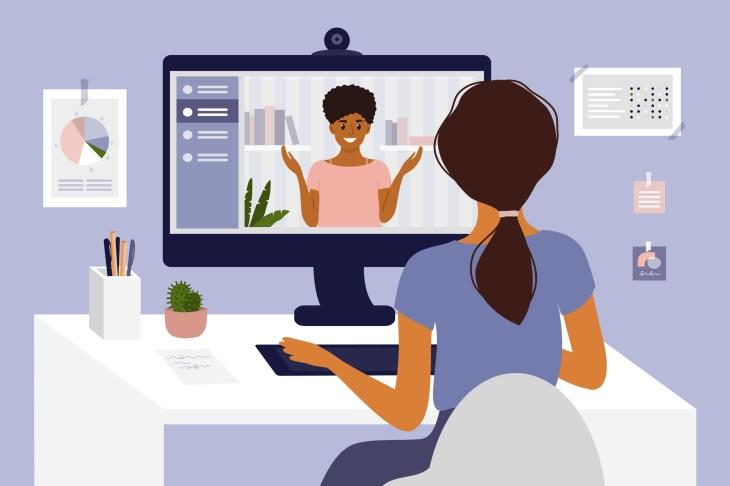 Онлайн-курсы, учеба или образование.  Видеозвонок, работа в сети или конференция с помощью компьютера.  Работа в команде, беседа с партнером.  Наем, собеседование, трудоустройство.  Домашний офис, рабочее место векторные иллюстрации