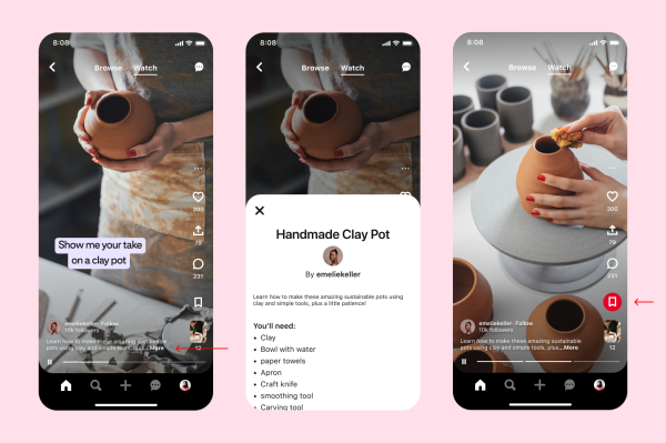 Pinterest gets more TikTok-like with a 'Watch' tab for videos, announces M in creator rewards – TechCrunch