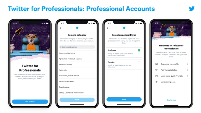 Twitter for professionals account flow image from Twitter. The image shows how you can select a category of your profile, choose if you're a business or a creator, and make your professional account.